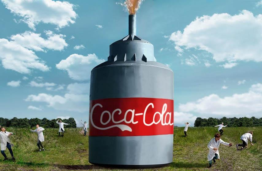 eksplozija, koka kola, soda bikarbona