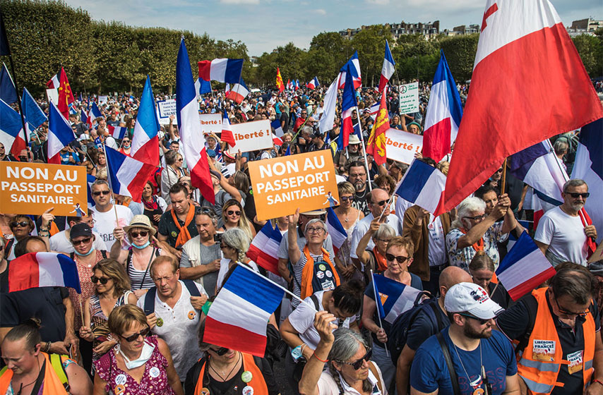 francuska, protesti, zdravstvene potvrde covid
