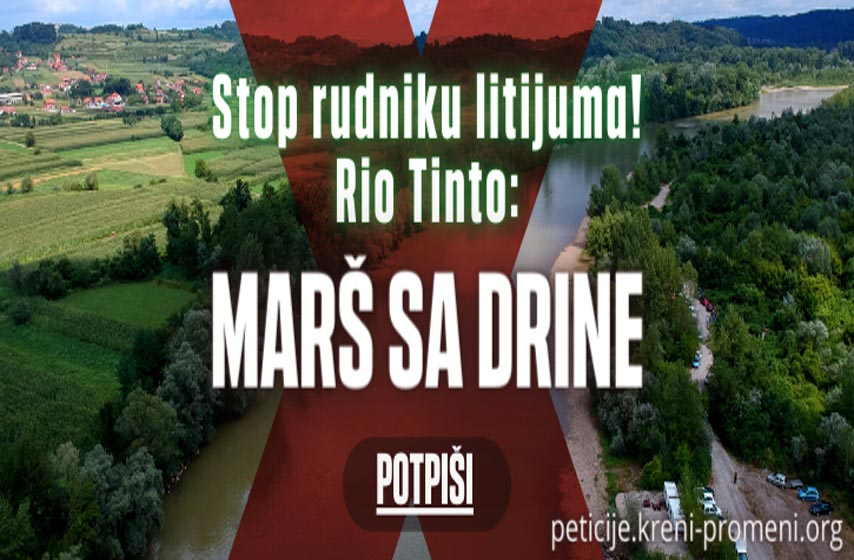 zabrana rudnika rio tinto, peticija kreni promeni, inicijativa rio tinto mars sa drine